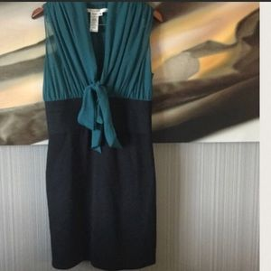 🦋MAX STUDIO🦋TEAL AND BLACK DRESS WITH TIE🦋